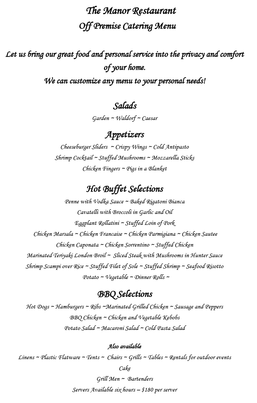 Off-Premise Catering  sc 1 st  The Manor Restaurant & Off-Premise Catering | The Manor